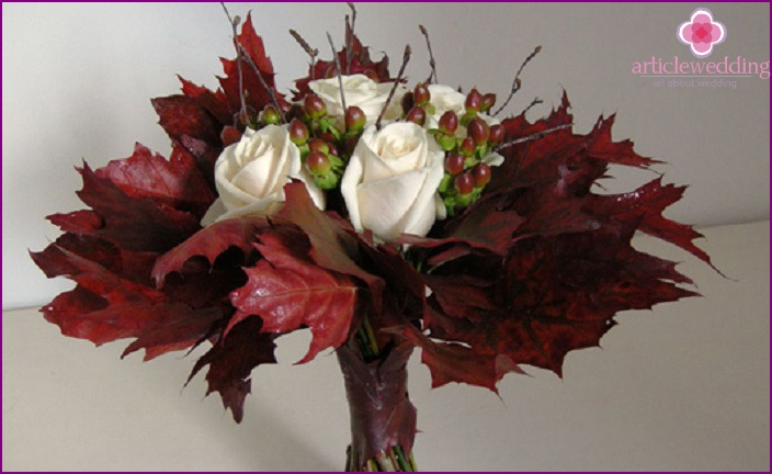 Autumn leaves for creative wedding composition