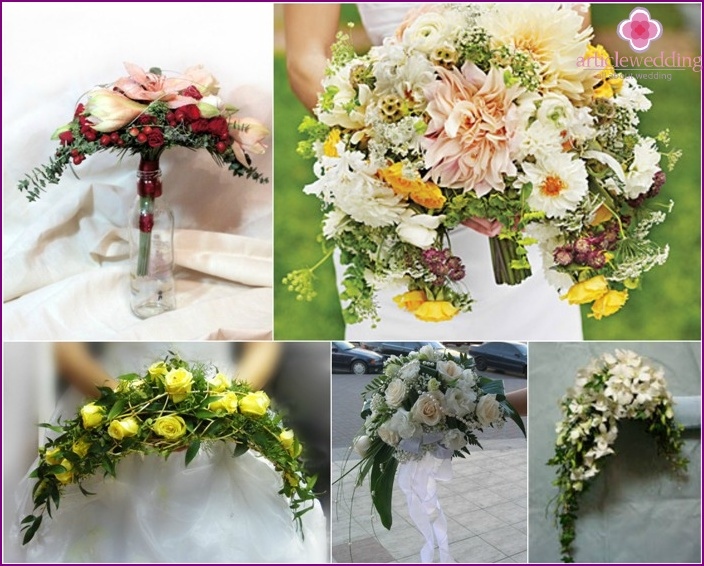 The form of flower arrangement for a bride: a crescent