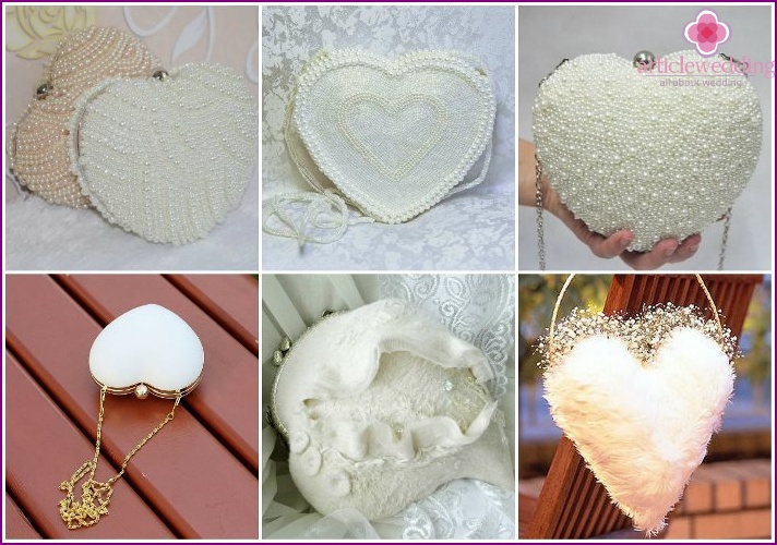 Handbag in the form of heart image for the bride
