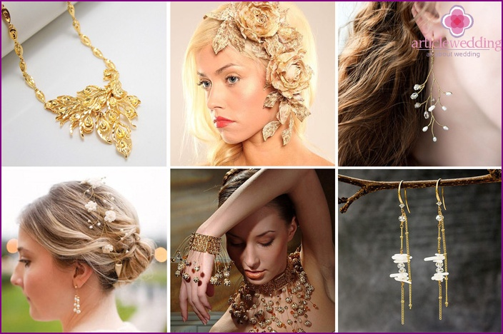 Wedding necklaces and earrings in gold
