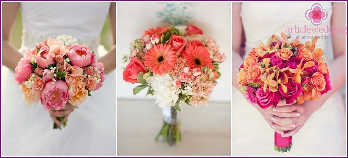 A variety of wedding bouquets in pink