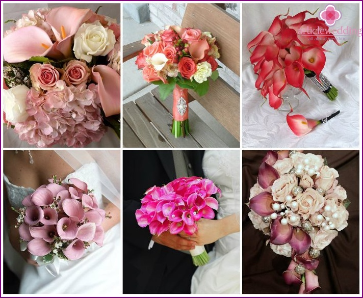 Pink calla lilies for the bride