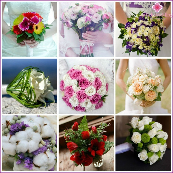 Types of flower arrangements for the wedding