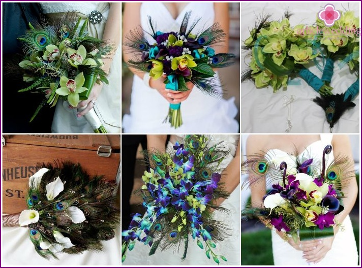Orchids and feathers for wedding decor