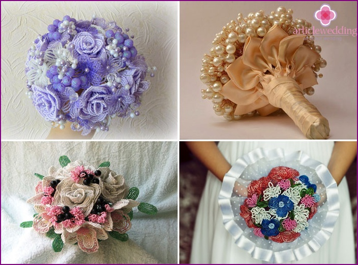 Wedding bouquet with beaded flowers with his own hands