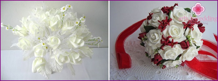 Artificial flowers in the bride's bouquet