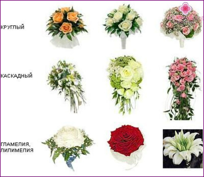 Forms of wedding flower arrangements
