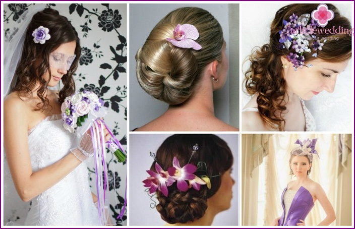 bride's hairstyle with purple flowers