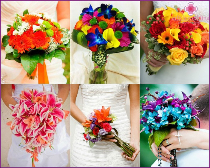 Forms of bouquets for the bride