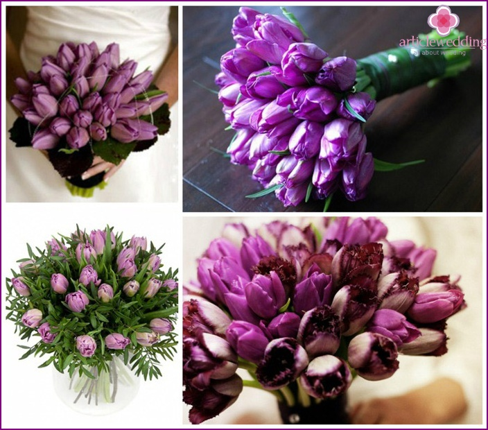 Purple tulips composition for wedding