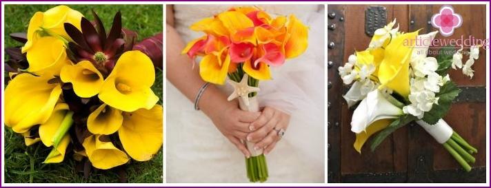 Calla lemon color in the bouquet of the bride