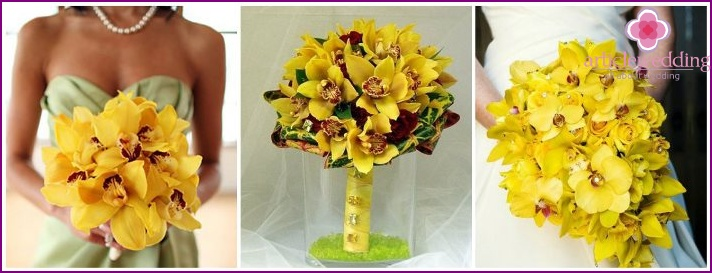 Exotic orchids in a composition for the bride