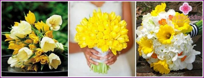 Yellow tulips in a bouquet of the bride