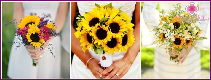 Small sunflower in a bouquet of the bride