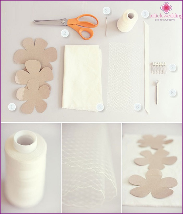 Materials for veils with flower