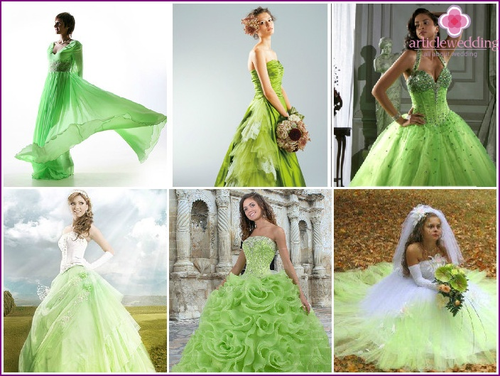 Dresses bride's color of green apple