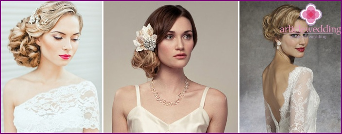 Asymmetric hairstyle for the wedding dress closed