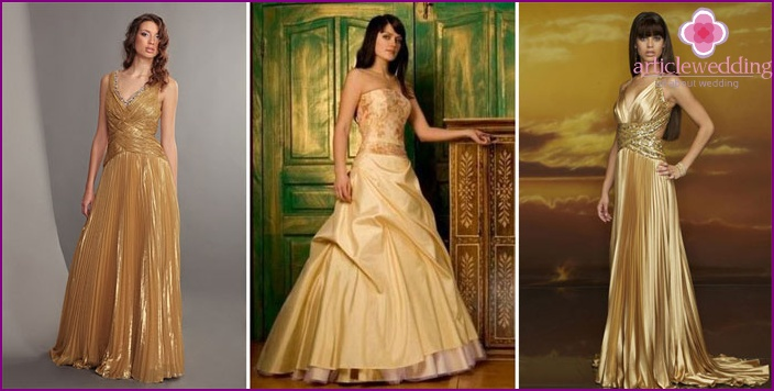 Wedding dress gold color
