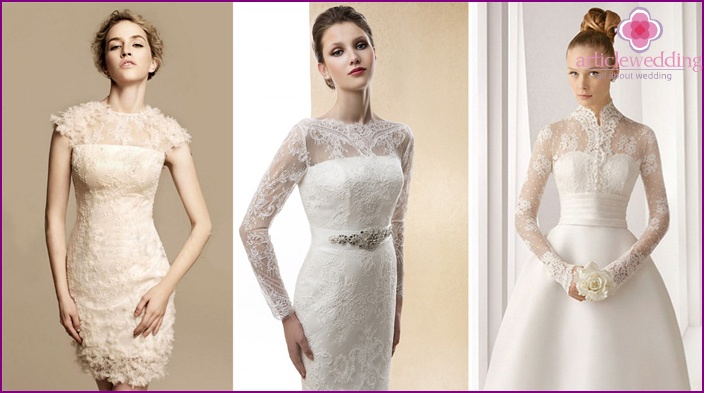 Wedding apparel with lace