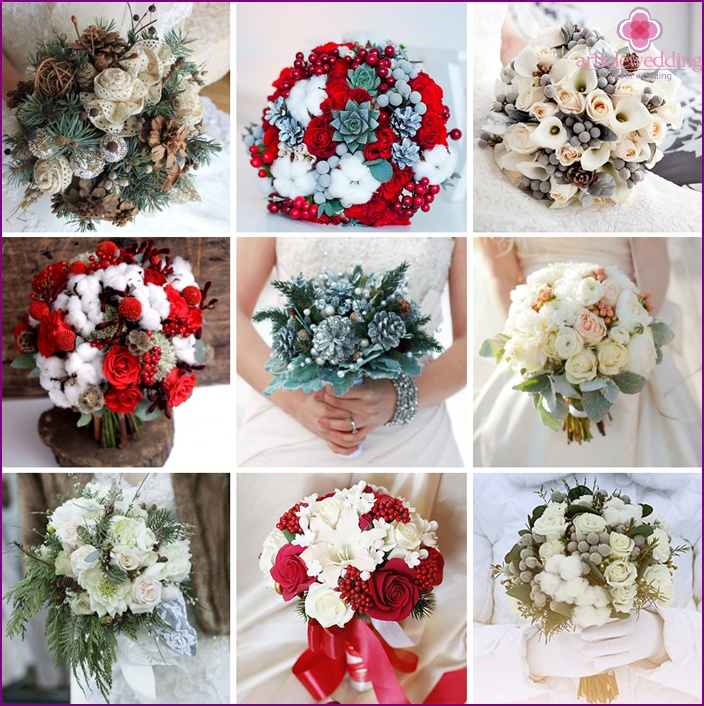 Unique bouquets for winter brides