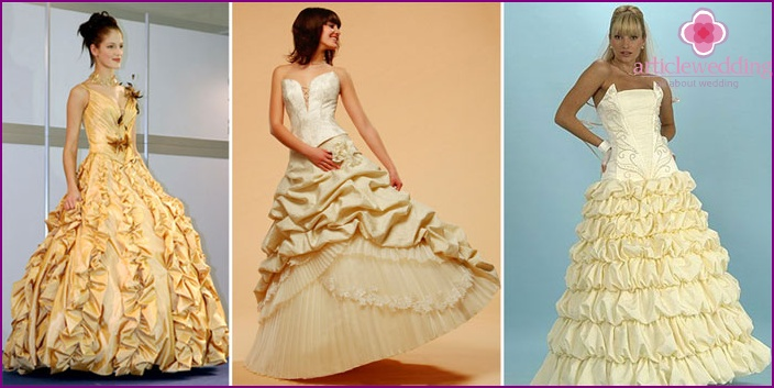 Golden wedding decoration with ruffles