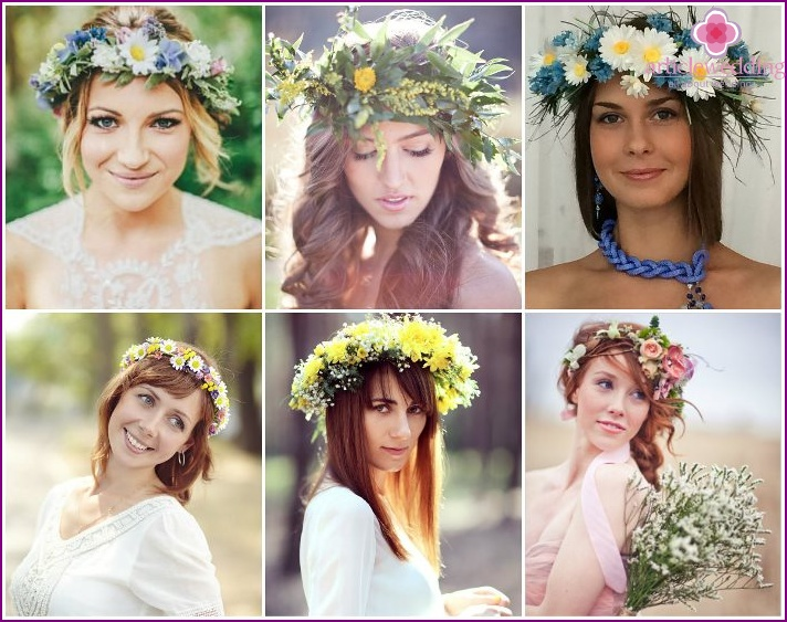 Wedding hair ornaments with wildflowers