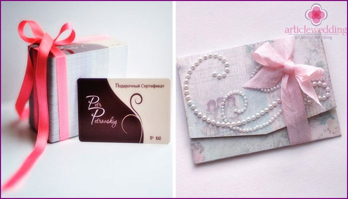 Gift certificates for the bride at the bachelorette party
