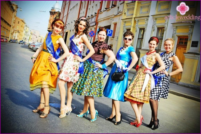 Photo: retro costumes for the participants of the bachelorette party