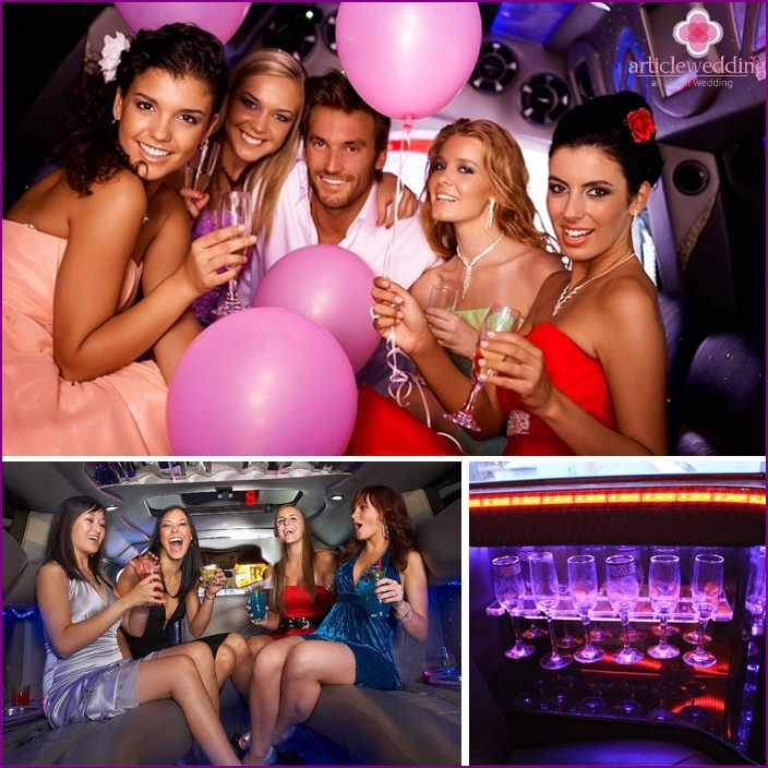 "Group of girls in the ""limousine"" bachelorette party"