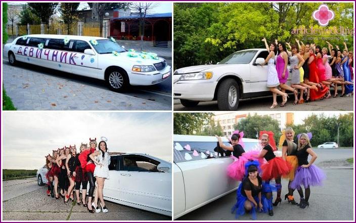 Girls near limousine