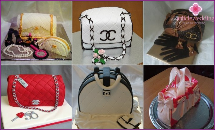 Festive dessert in the form of a handbag for a bachelorette party