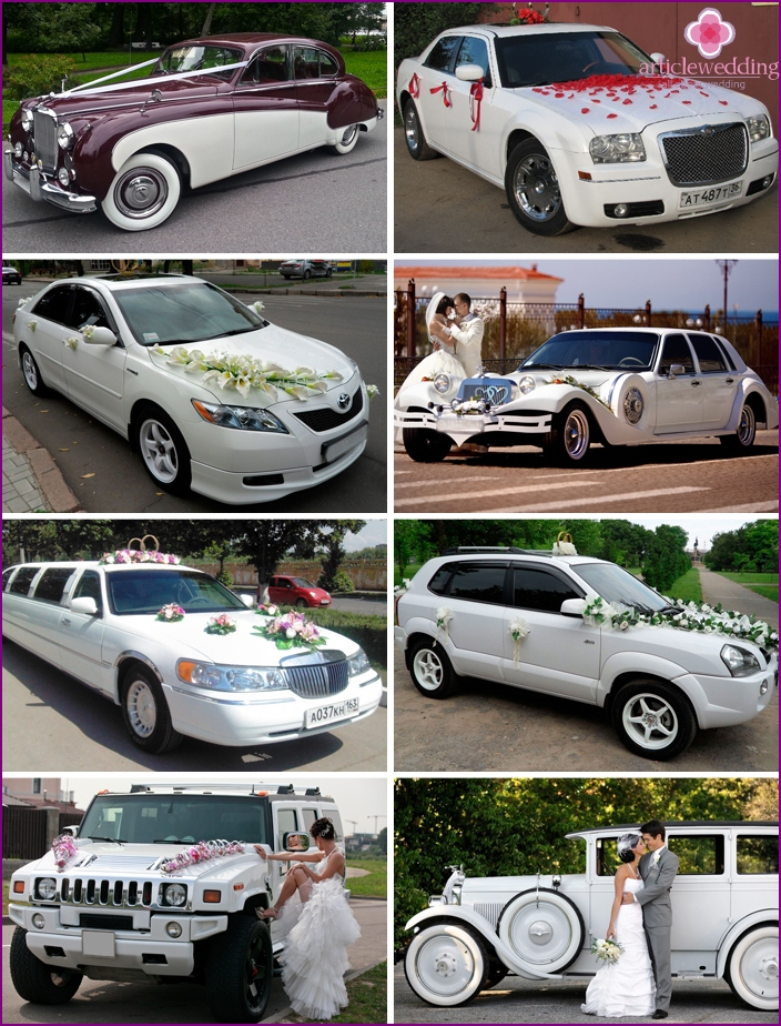 A variety of wedding cars