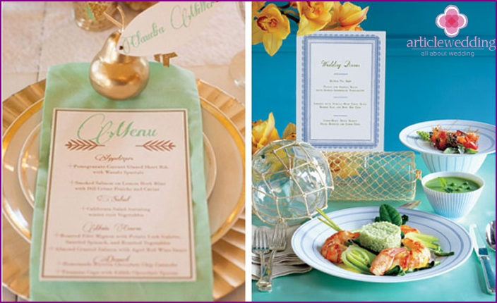 Menu for home wedding