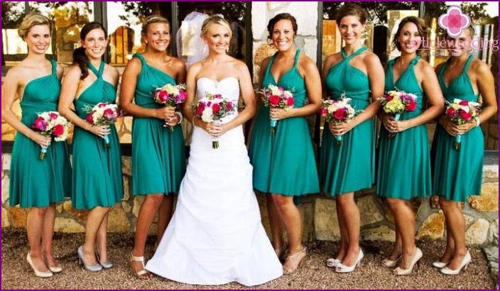 Dress-transformer for bridesmaids bride
