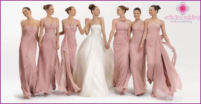 Solid groomsmen bride dresses