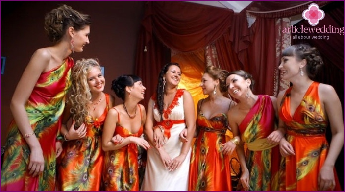 Dresses for bridesmaids with a pattern on the fabric