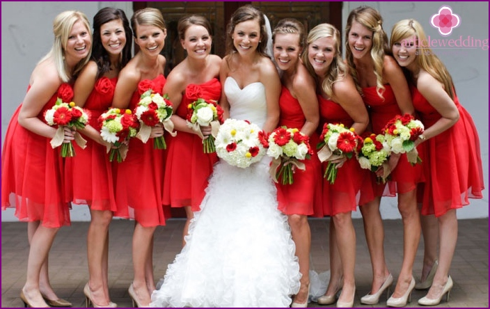 Examples groomsmen outfits of the bride in red