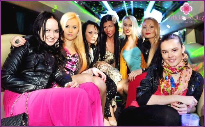 Bachelorette party in a limousine