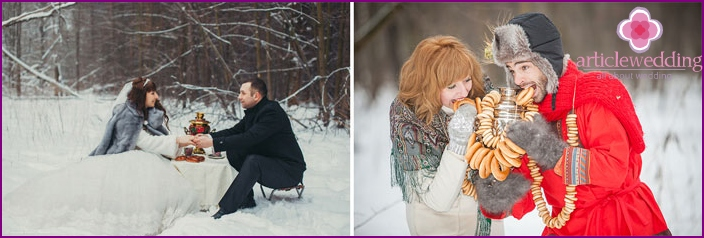 Wedding photo shoot with a samovar in the winter