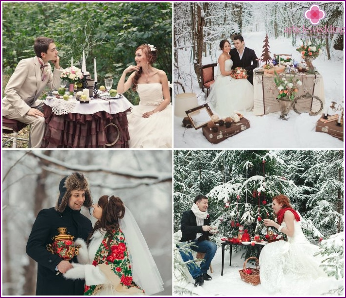 Wedding pictures in the forest with decorations
