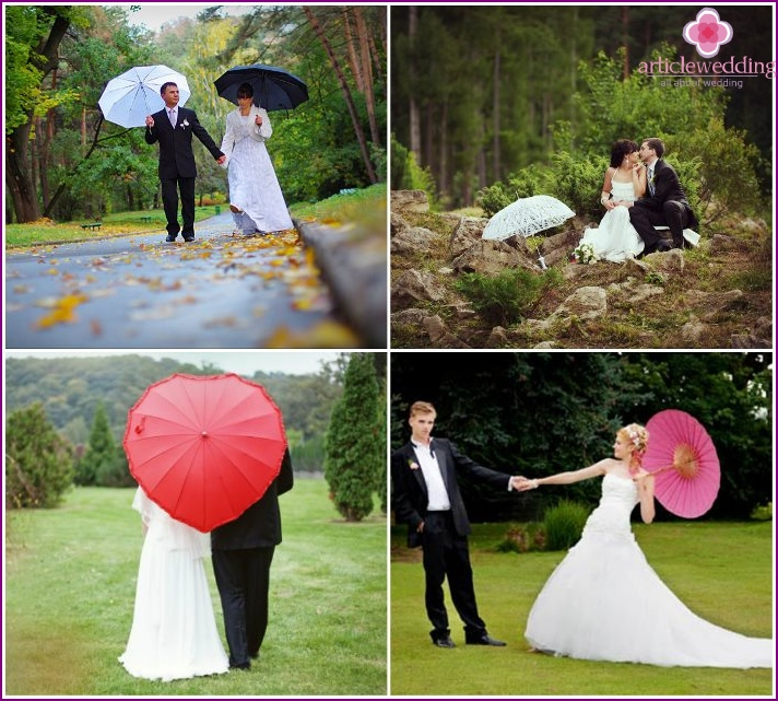 Photo session of the newlyweds in the forest with an umbrella
