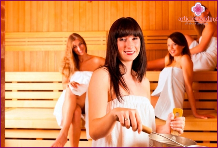 Bachelorette party in sauna