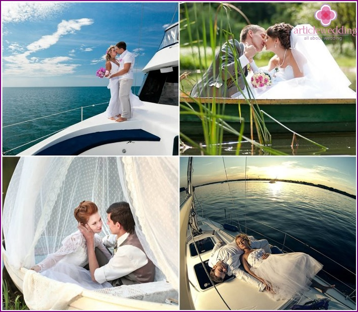 Photo newlyweds by boat and yacht