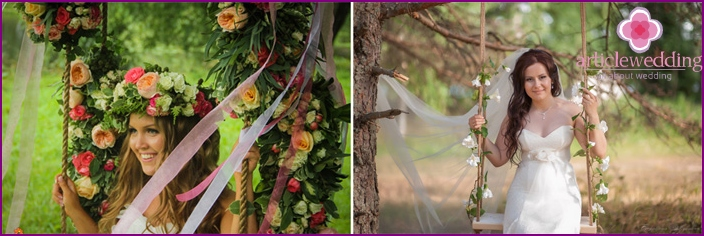 Decoration swing flowers for the wedding photo shoot