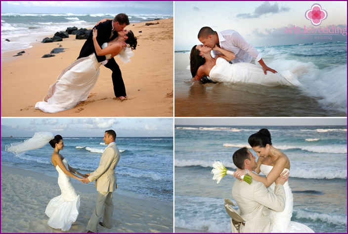 Wedding pictures of the sea
