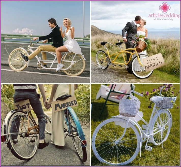 Photo newlyweds with a bicycle
