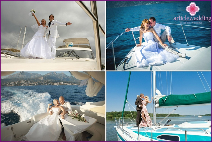 Wedding photo shoot on a yacht