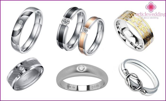 Products made of titanium, tungsten, steel jewelry