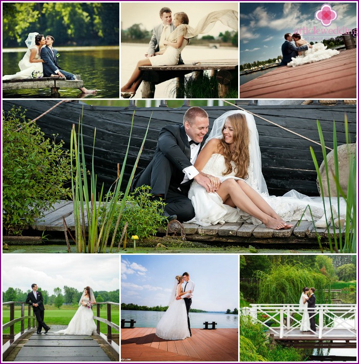 Wedding photos on the bridge and the quay