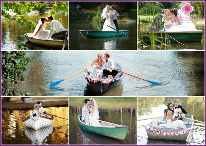 Wedding photo session in a boat